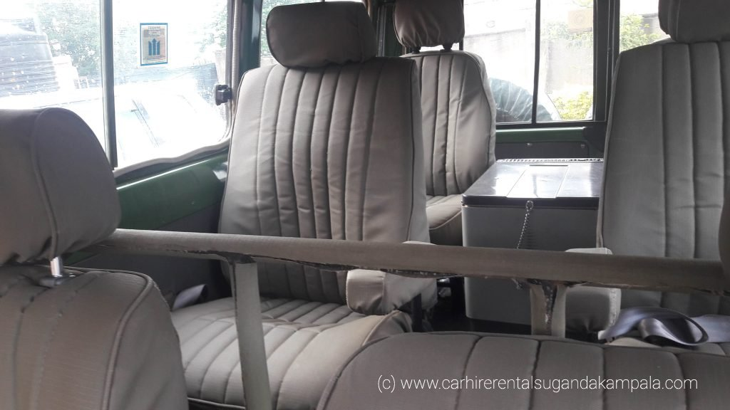 Interior view of Toyota land cruisers for hire.